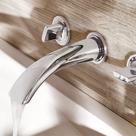 Wall mounted basin mixer tap